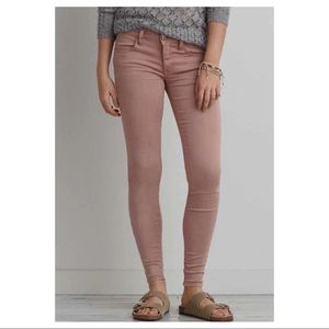 American Eagle AEO X Sateen Jeggings Pink Size 6